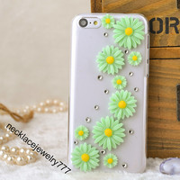 flower case for iphon 5c, iphone 5c flower cases, iphone 5c flower back cover with pearl studded women girl gift