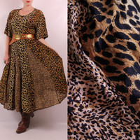 Vintage 90s - Two Toned Panel Leopard Cheetah Animal Print Billowy Crinkle Maxi Dress - Full Skirt - Plus Size - Boho Hippie New Age Grunge