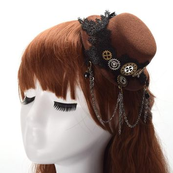 1pc Vintage Lace Gear Tassels Steampunk Hair Clip Mini Top Hat Women Gothic Lolita Fedoras Headwear