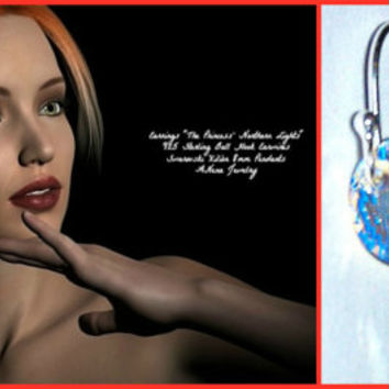 "Earrings:Swarovski Xilión  Crystal 8mm , Drop Round Pendants and 925 Sterling Silver Ball Hook Earwires"" The Princess' Northern Lights"""
