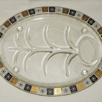 Vintage 1960s Inland Glass Snowflake Meat Platter (1)