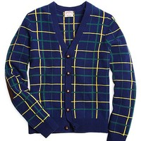 Lambswool Plaid Cardigan with Elbow Patches - Brooks Brothers