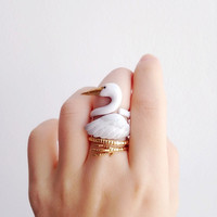 Crane 3 Piece Ring Set - Enamel ring, Animals Ring, Animals Jewelry, Enamel Brass Jewelry, Trio Ring, Animal, Gift, Cute, Bird, Mary Lou