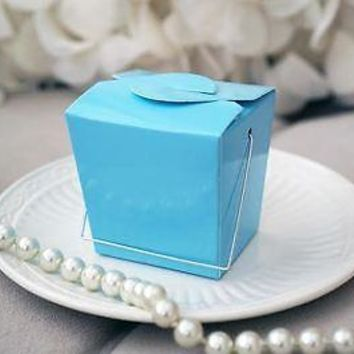 12 Light Blue Chinese Mini Take Out Boxes Wedding Birthday Baby Party Favor