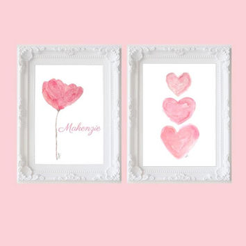 Pink Artwork, Set of 2 - 5x7 Watercolor Art Prints, Contemporary Nursery Decor, Floral Art, Pink Flower, Pink Nursery Art,Personalized Print