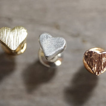 Brushed texture gold or rose gold, silver tiny hearts stud earrings (EA00026)