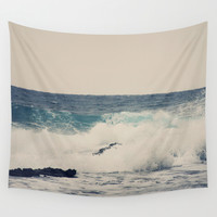 Ocean Blue Wall Tapestry by Sylvia C