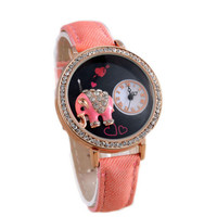Womens Girls Cute Elephant Denim Strap Watch Best Christmas Gift