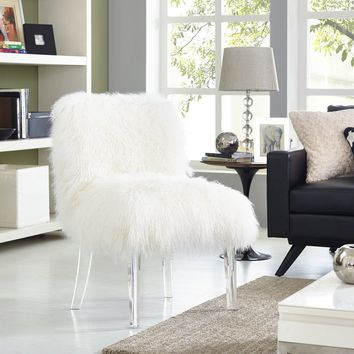 TOV Furniture Sophie White Sheepskin Lucite Chair