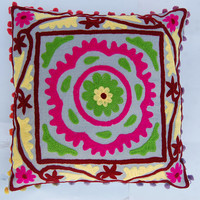 Suzani Cushion Cover Indian Rangoli style Handmade Embroidered Pillow cover Home and living decor Decorative pillow cases 16 x 16 Indian art