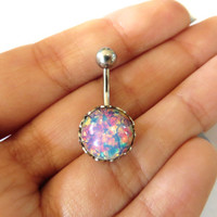 Pink Fire Opal Belly Button Jewelry Ring Stud- Navel Piercing Stone Bar Barbell Glass Stone