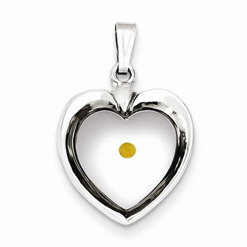 Sterling Silver Large Heart with Mustard Seed Pendant