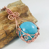Copper wire wrapped turquoise sphere gemstone, wire wrapped turquoise, teardrop shap pendant, whimsical, swirls, body novelties