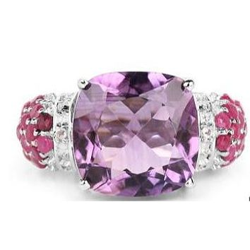 Natural Platinum 5.6CT Cushion Cut Purple Pink Amethyst Red Ruby Accent Ring