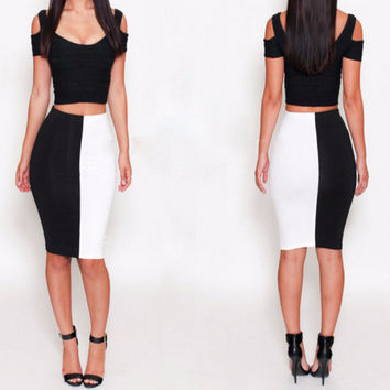 Black and White Color Block Cropped Top and Bodycon Skirt
