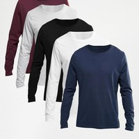 ASOS | ASOS Long Sleeve T-Shirt With Crew Neck 5 Pack Save 23% at ASOS