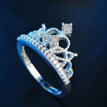 Eternity Love Charming CZ Crystal Ring Set White Gold Color Engagement Wedding Rings for Women Couple Jewelry