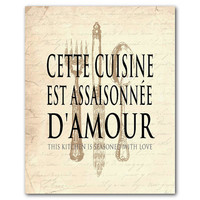 Kitchen Wall Art - Cette cuisine est assaisonnee d'amour This kitchen is seasoned with love - housewarming gift knife fork spoon typography