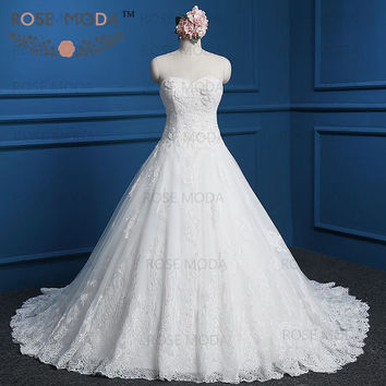 Elegant Corded Lace A Line Wedding Dress Wyomia Pearl Beaded Destination Bridal Gown with Lace Hem Real Photos