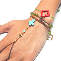 Free people inspired red lucky clover braided friendship bracelet - medium dark green floss silver plated wire dainty simple