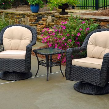 Tortuga Outdoors 3pc Biloxi Wicker Swivel Gliding Chairs