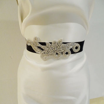 Bridal Rhinestone Sash MARIABELLA Bridal by BellaCescaBoutique