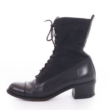 Black Leather and Fabric Lace Up Goth Witch Edwardian Style Ankle Boots Minimalist 80s 90s Vintage Shoes Womens Size US 7 UK 5 EUR 37-38