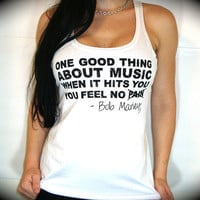 "Utopia Apparel ""BOB MARLEY Music QUOTE"" Flowy Knotted Racerback Tank In White"