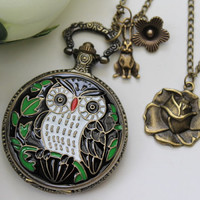 Alice in Wonderland - Antique OWL Pocket Watch Necklace with Rabbit and Rose Flower Charm