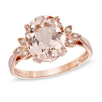 Oval Morganite and Diamond Accent Ring in 10K Rose Gold