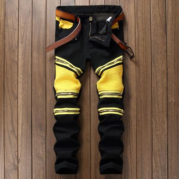 BP Fashion brand Men Ripped Designer Jeans Pants Slim Fit Knee Zipper Stitching Jeans Men Club Wear Bright Color Denim Jogger