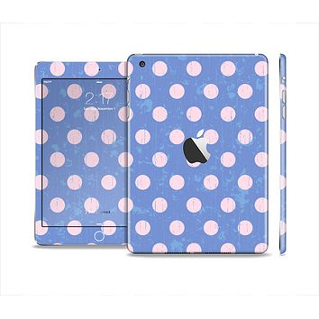 The Vintage Scratched Pink & Purple Polka Dots Skin Set for the Apple iPad Mini 4