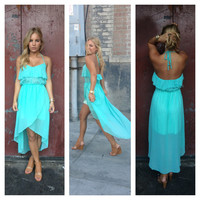 Blue Hi Low Halter Jen Dress
