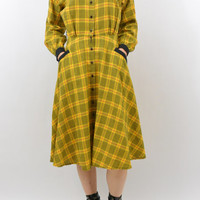 Vintage Flannel Dress, XS Clothing, Punk Dress, Tartan Dress, 1980's does 1940's, Yellow Dress, Mori Girl, Collared Dress, 80's Clothing