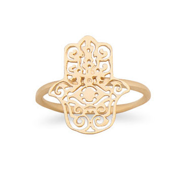 14 Karat Gold Plated Hamsa Ring