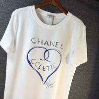 """CHANEL"" Hot letters print T-shirt top"