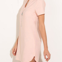 Pink V Neck Split Side Shift Dress