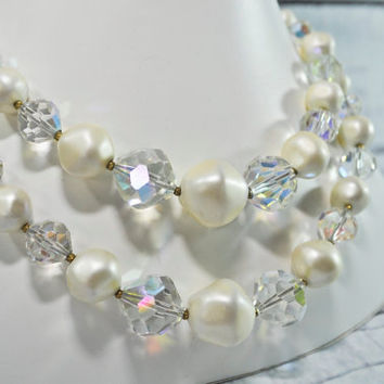 STUNNING Laguna Necklace - Faux Pearl and Aurora Borealis - Double Strand