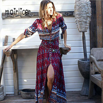 Moirlicer Bohemian printing long dress women maxi long dress floral print retro hippie vestidos chic brand clothing boho dress