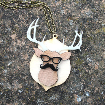 Mounted Stag Head in Disguise necklace - laser cut wood and acrylic