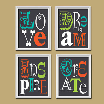 Dark Navy Turquoise Green Orange Love Dream Inspire Create Colorful Quote Print Typography Artwork Set of 4 Prints Wall Decor Art Pictures