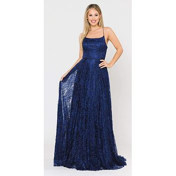 Lace-Up Back A-Line Metallic Lace Long Prom Dress Navy Blue