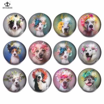 RoyalBeier 12Pcs/lot Lovely Dog Snap Button Cute 18mm Panda Snap Buttons Glass Unicorn Charms For Snap Bracelet DIY Snap Jewelry