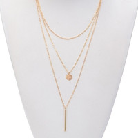 Triple Chain Circle and Bar Necklace - Gold or Silver