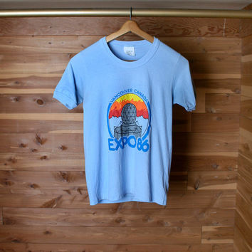 Vintage Expo 86 Shirt - Baby Blue World Expo Souvenir Shirt - Small