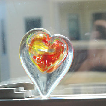 Glass Heart Paperweight  Hand Blown Red Yellow Swirl