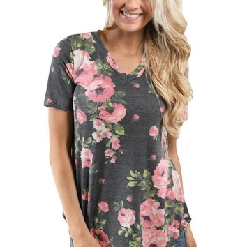 Chicloth Grey Denim Floral V Neck Short Sleeve T-shirt