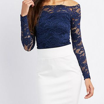 Lace Off-The-Shoulder Skimmer Top