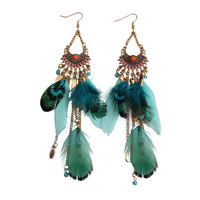 Boho Beaded Feather Earrings