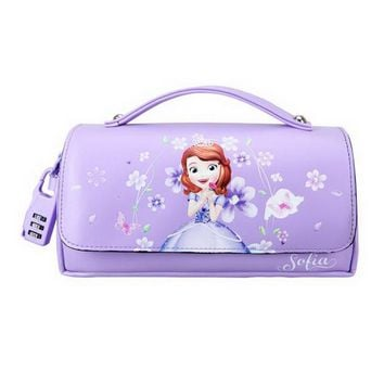 160906/Disney Sufiya Korean pencil pants female primary and secondary students multi - layer pencil case PU leather purple